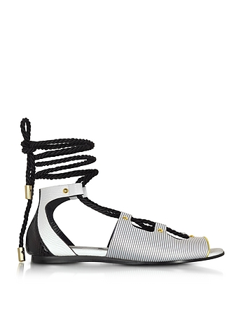 Vionnet - Pearl Grey Stripe Leather & Orchid White/Black Elaphe Lace Up Flat Sandal