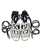 Pearl Grey Stripe Leather & Orchid White/Black Elaphe Lace Up Flat Sandal - Vionnet