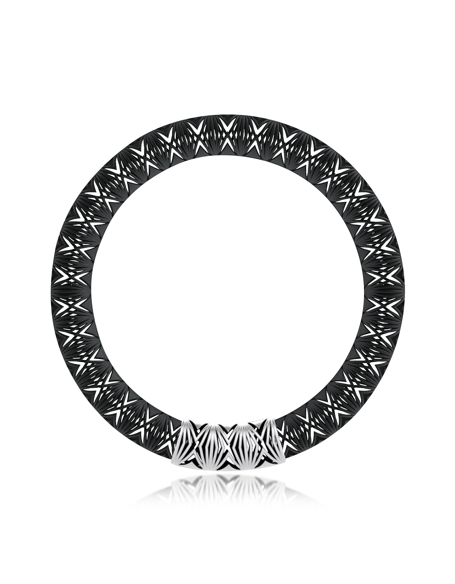 Фото Umbala - Черное Ожерелье с Шевроновым Узором и Цветами. Купить с доставкой