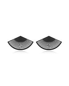 Phase Black Fan Earrings