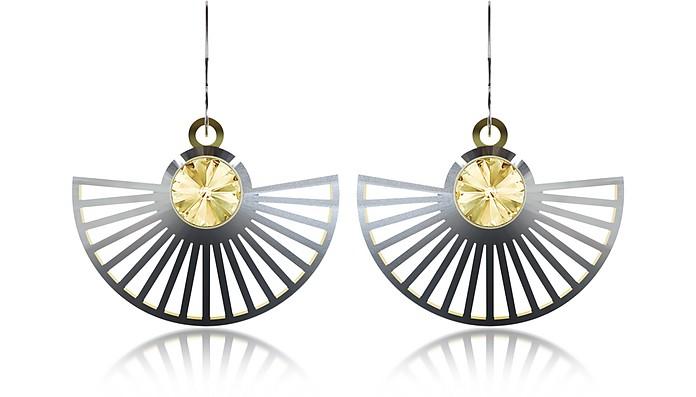 Phase Precious Sterling Silver Fan Dangle Earrings  - Vojd Studios