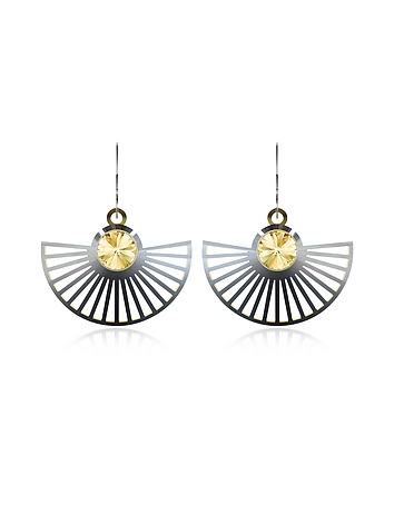 Vojd Studios - Phase Precious Sterling Silver Fan Dangle Earrings
