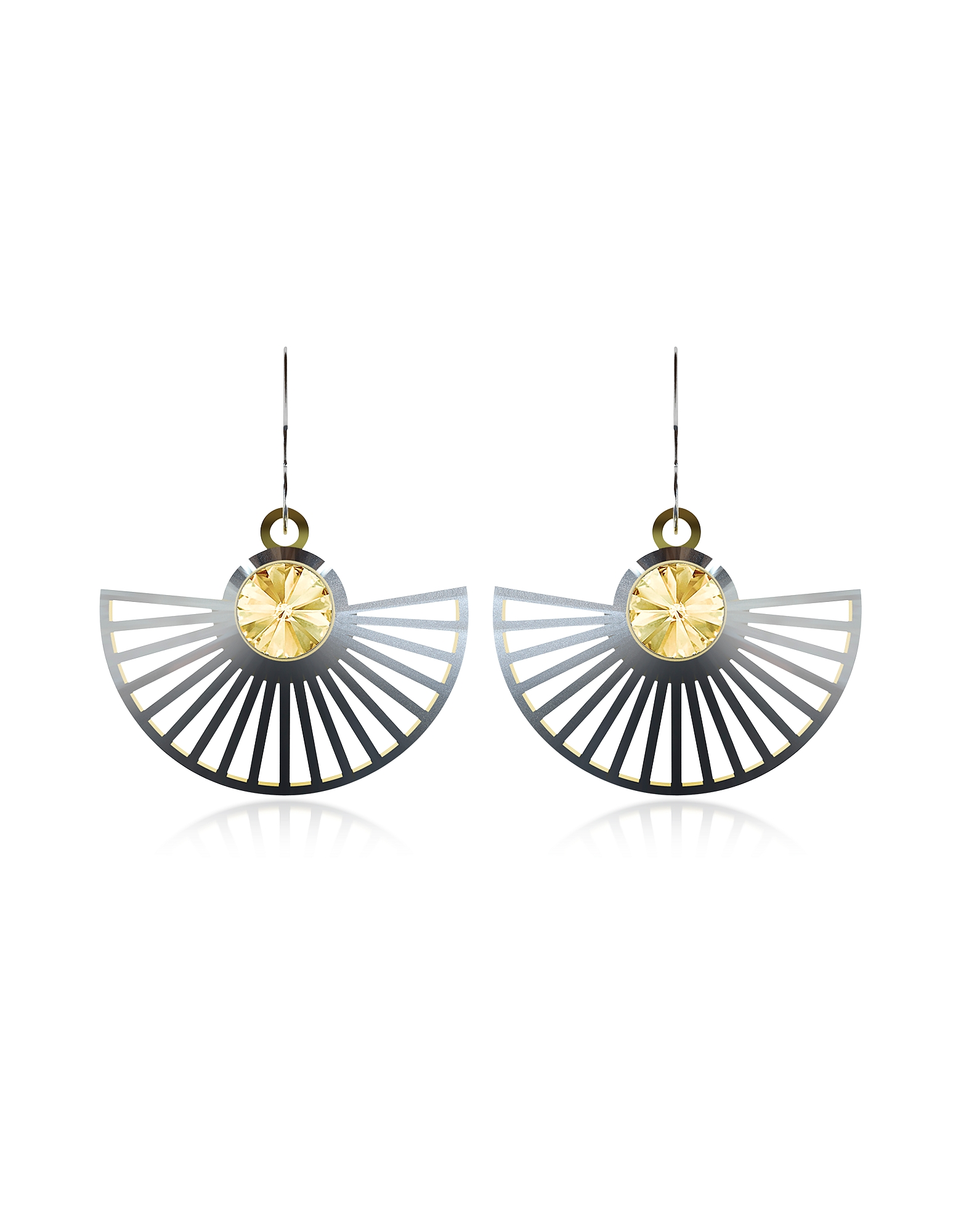 Vojd Studios Designer Earrings, Phase Precious Sterling Silver Fan Dangle Earrings