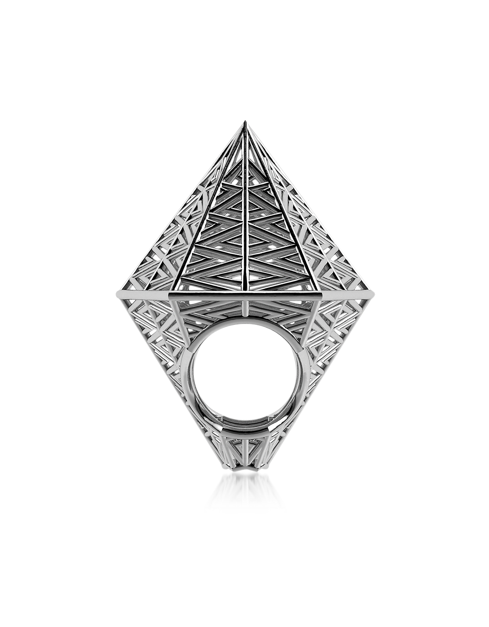 Vojd Studios Rings, Umbala Hexagonal Sterling Silver Ring