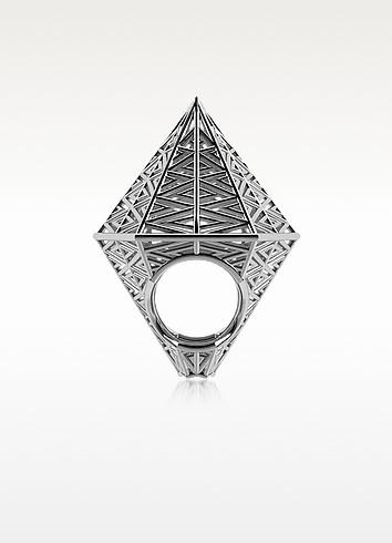 Umbala Hexagonal Sterling Silver Ring - Vojd Studios