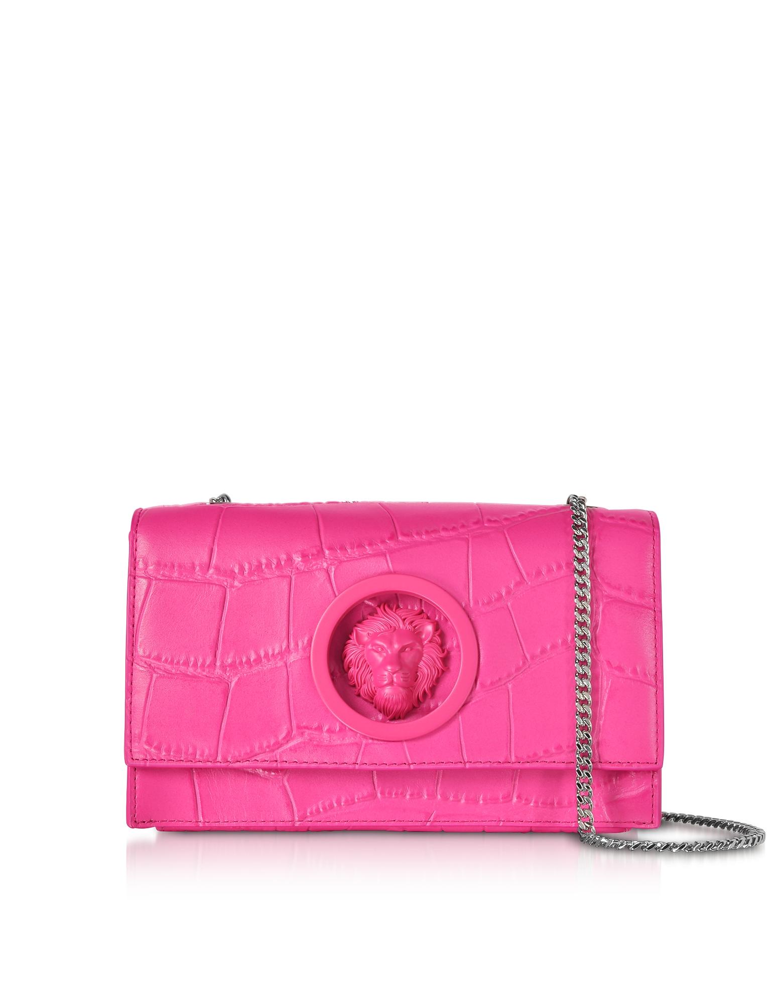 Versace Versus Handbags, Lion Mock Croco-Embossed Leather Shoulder Bag