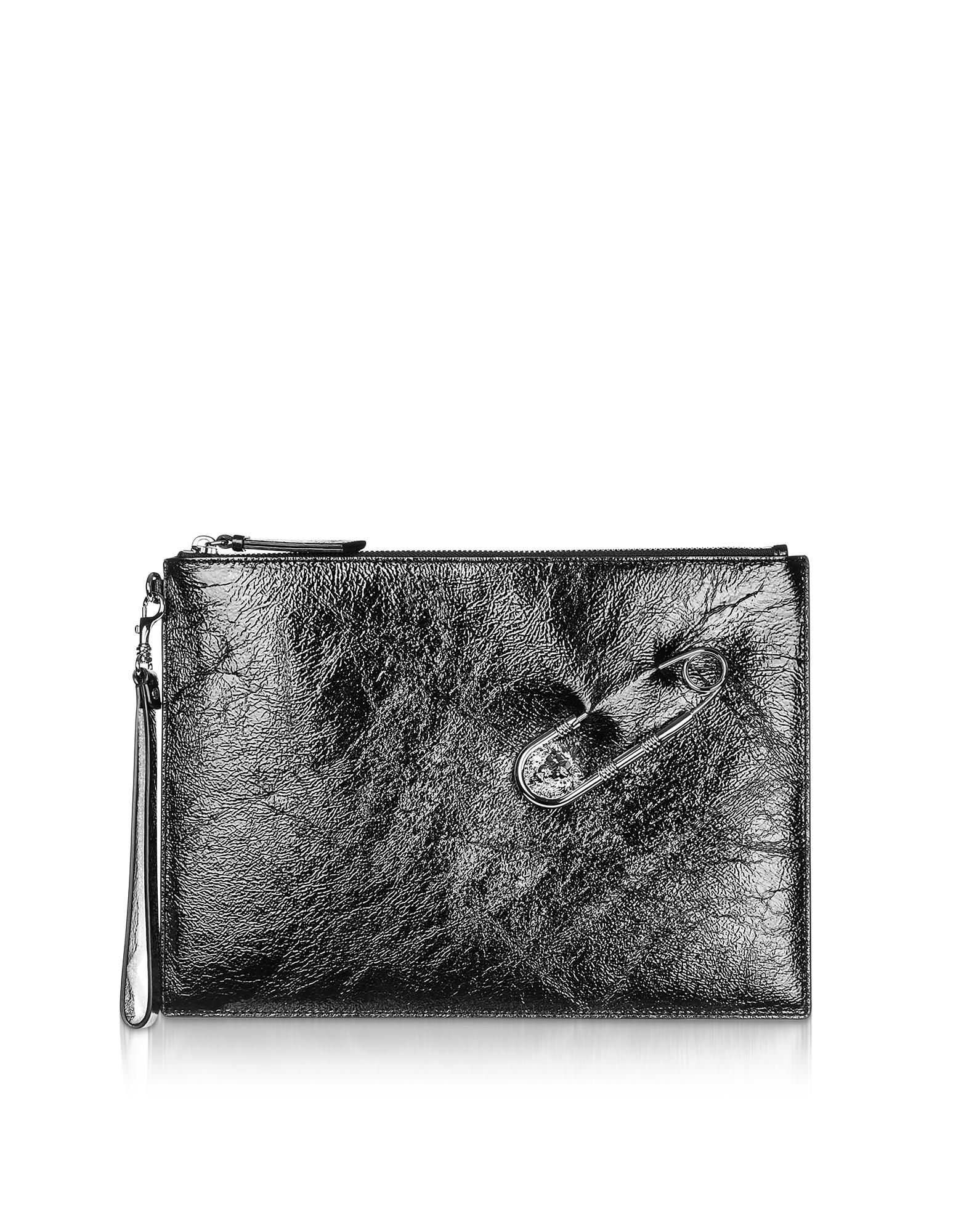 Black Crackle Patent Leather Wallet Clutch