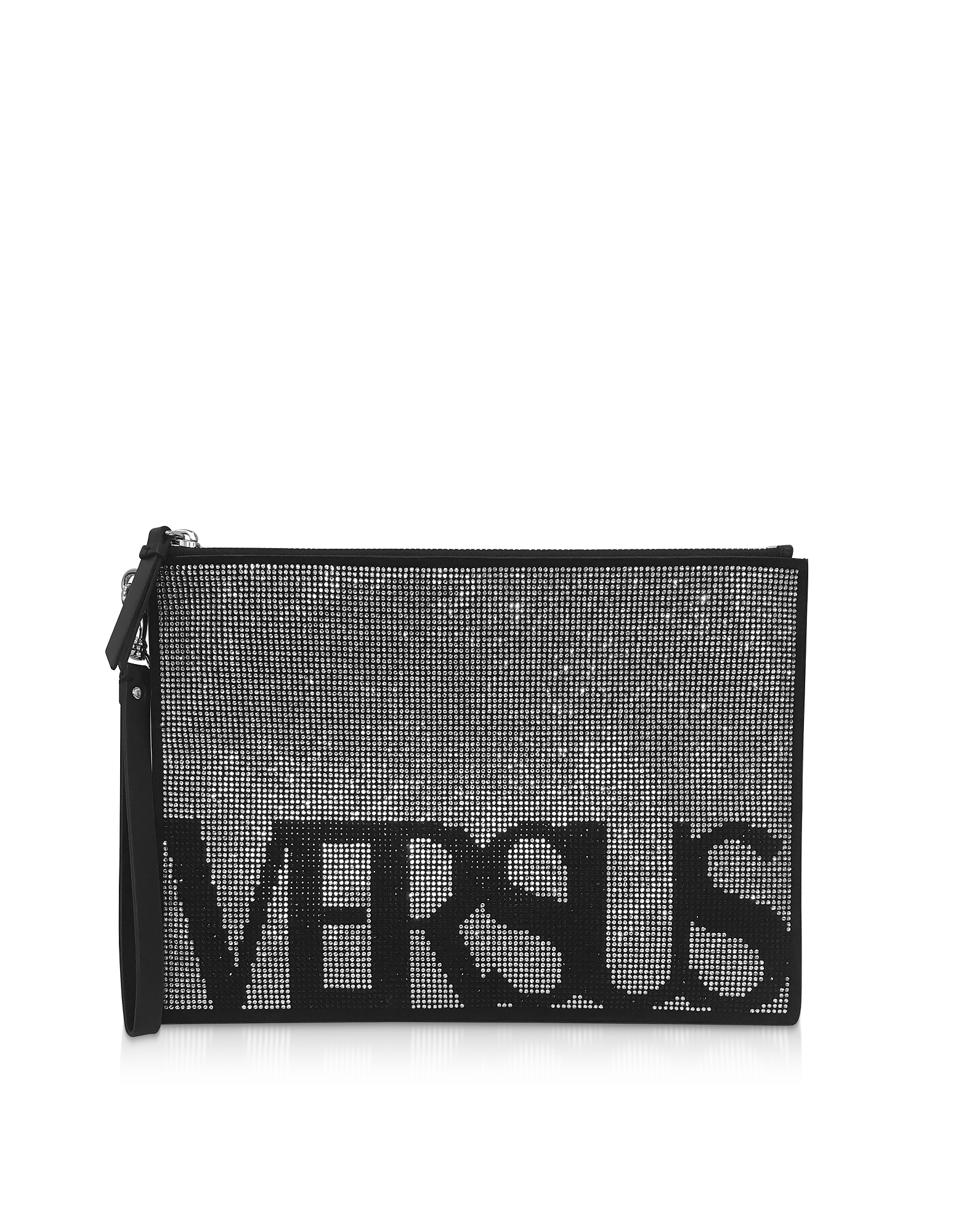 Signature Crystals and Suede Flat Clutch