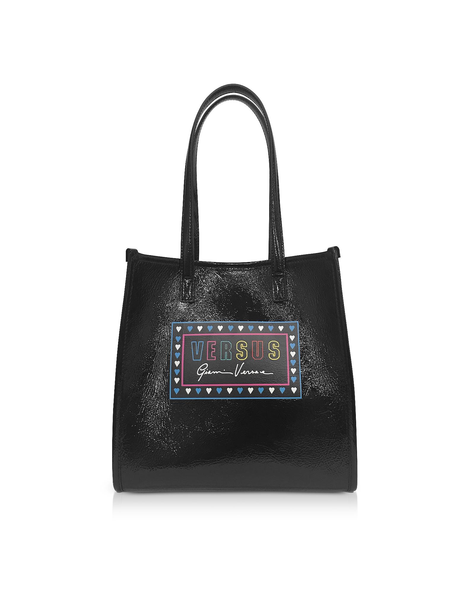 da01fb2de1ff8f Versace Versus Designer Handbags, Versus 90s Logo Naplak Tote Bag