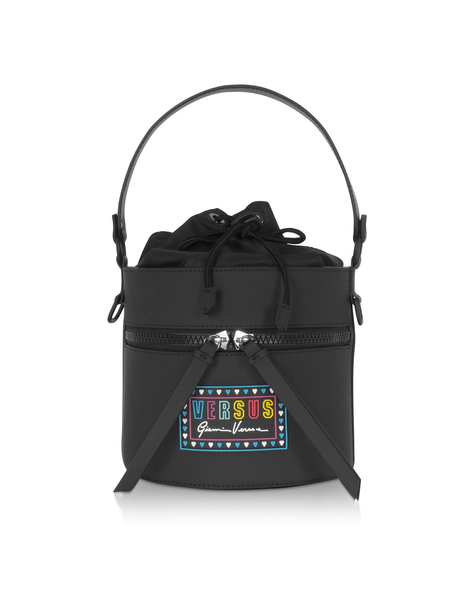 Versace Versus Designer Handbags, Gommato Leather and Nylon Shoulder Bag