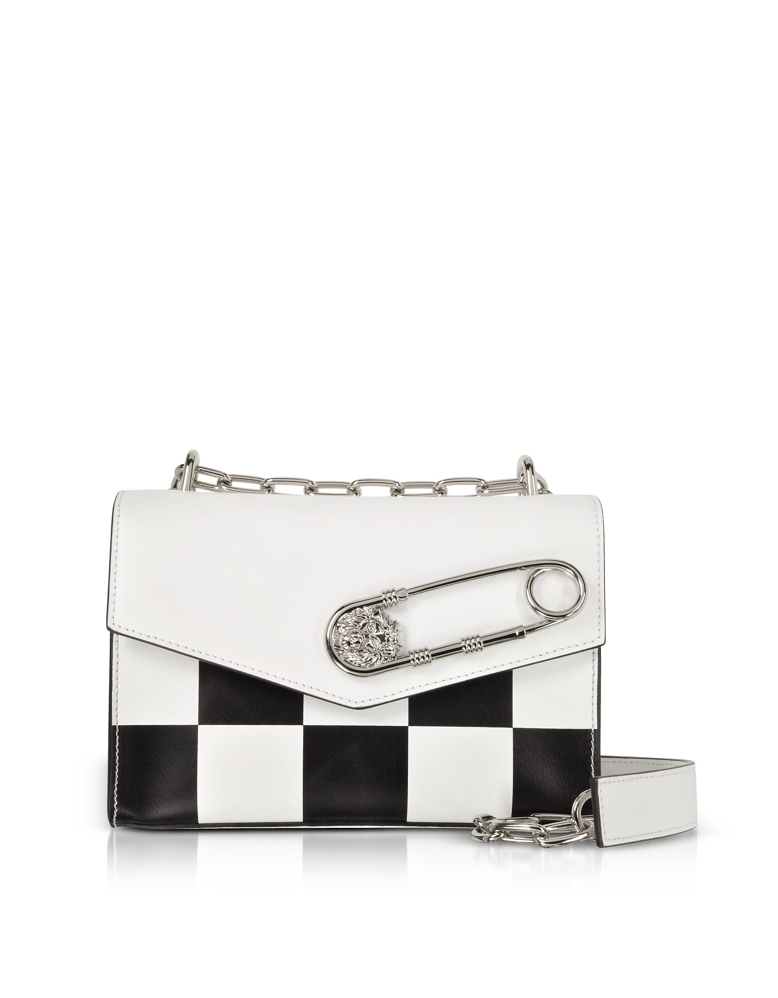 Image of Versace Versus Designer Handbags, Optic White/Black Checkerboard Print Leather Shoulder Bag w/Safety Pin
