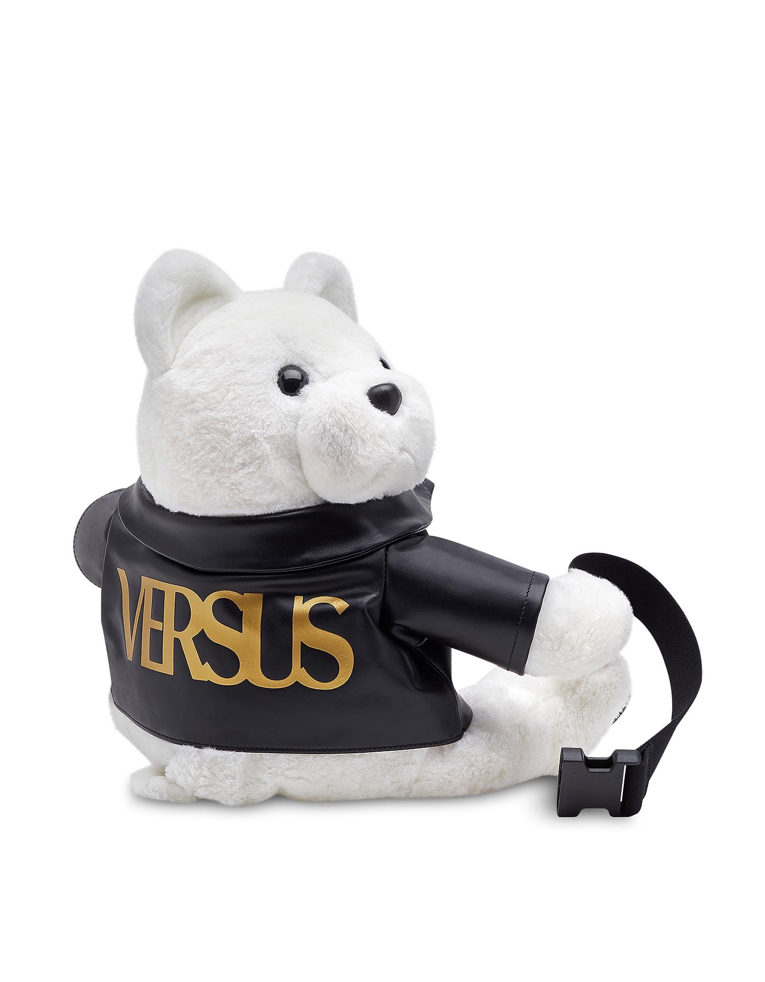 Image of Versace Versus Designer Handbags, White Faux Fur Versus Polar Bear Backpack
