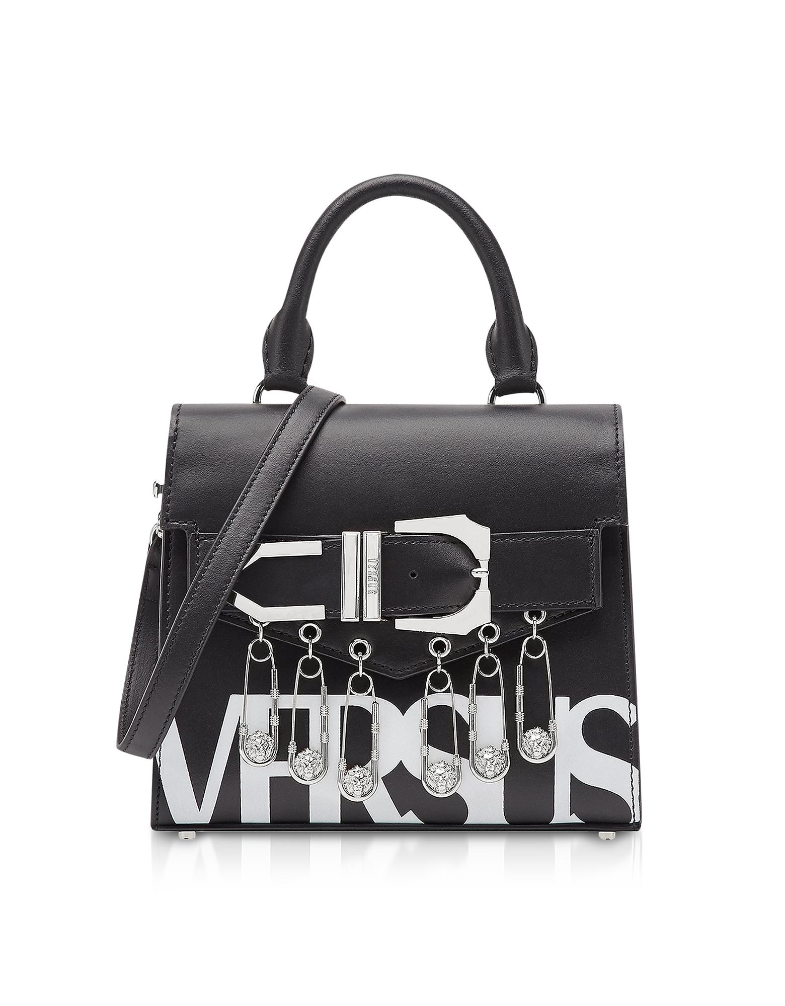 Image of Versace Versus Designer Handbags, Black/Optic White Leather Versus Vintage Logo Iconic Satchel Bag w/Buckle and Safety Pins