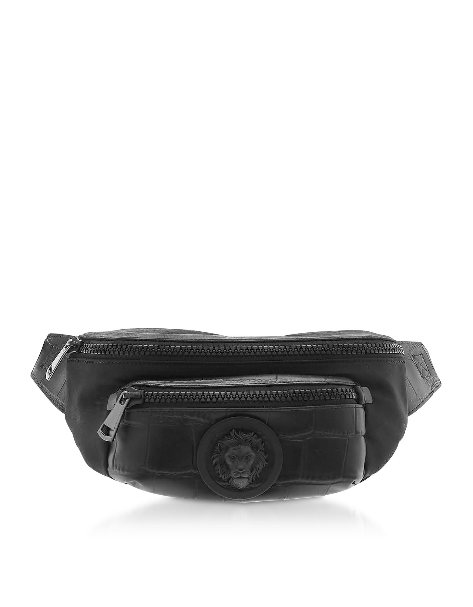 Black Croco-Embossed Leather Lion Belt Bag