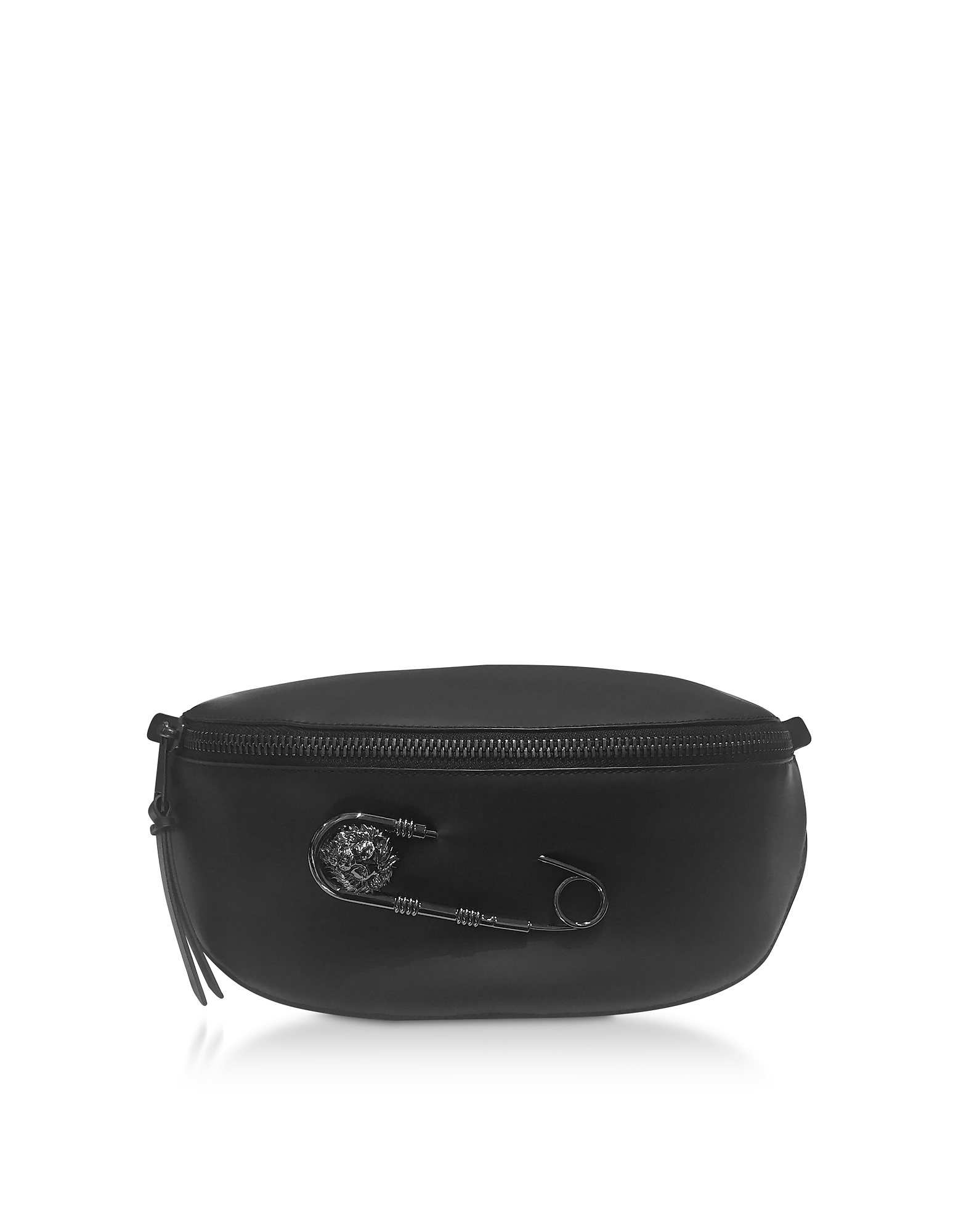 Black Gummy Calf Leather Belt Bag