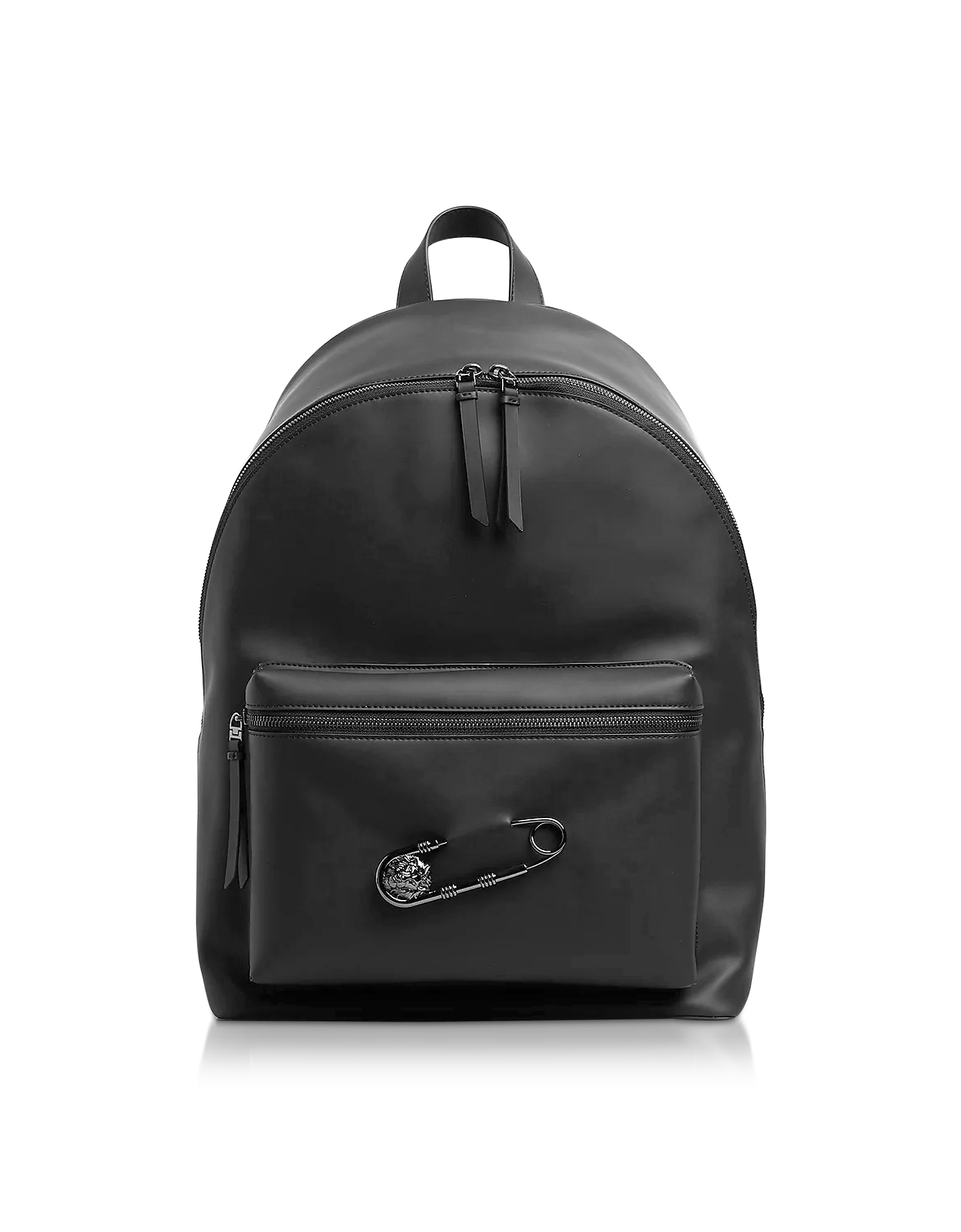 Black Gummy Calf Leather Backpack