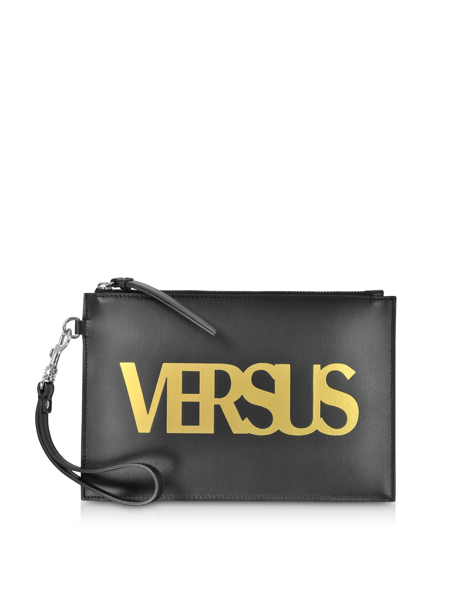 Image of Versace Versus Designer Handbags, Black Leather Versus Pouch