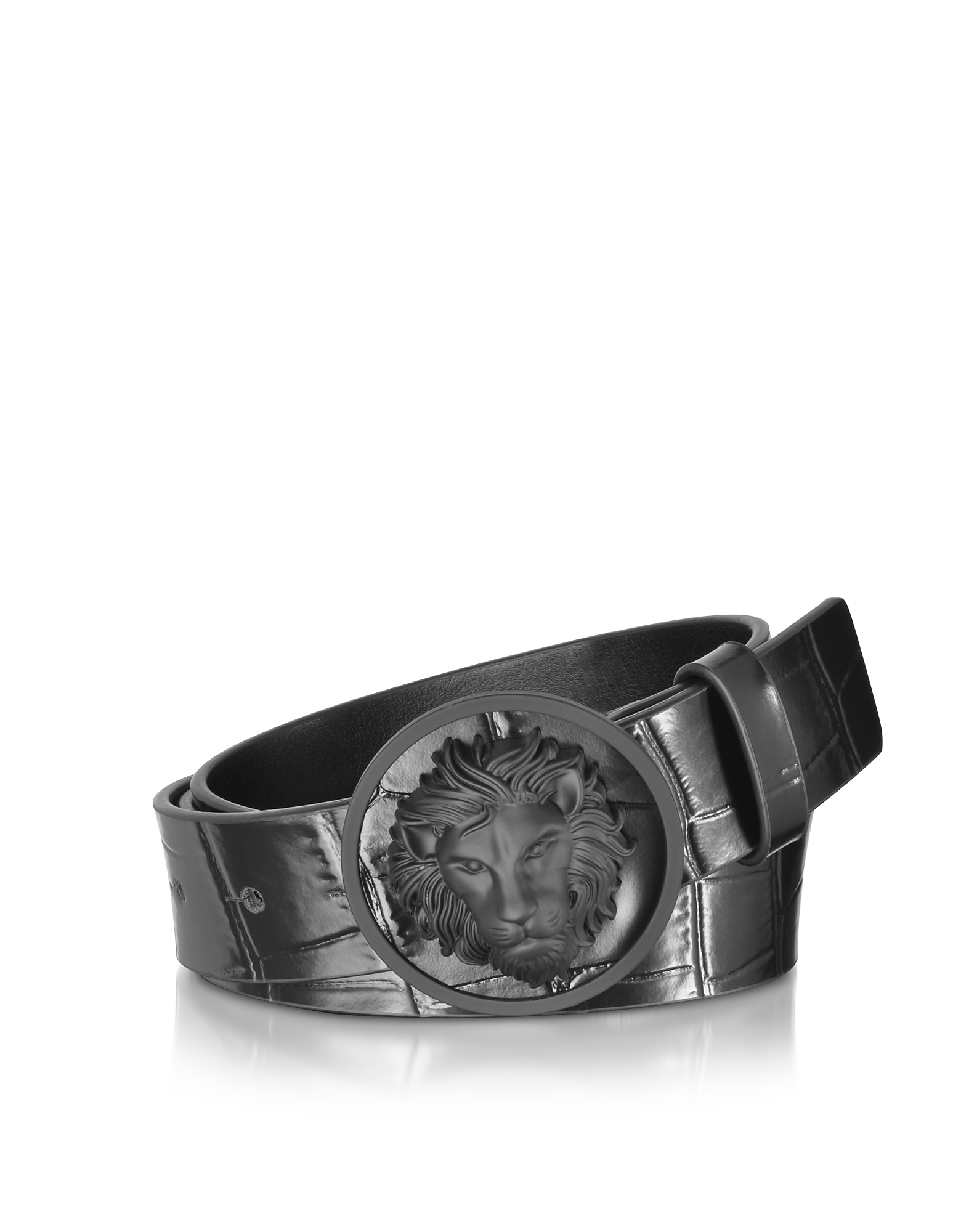 Versace Versus Men's Belts, Black Croco Embossed Leather Men's Belt
