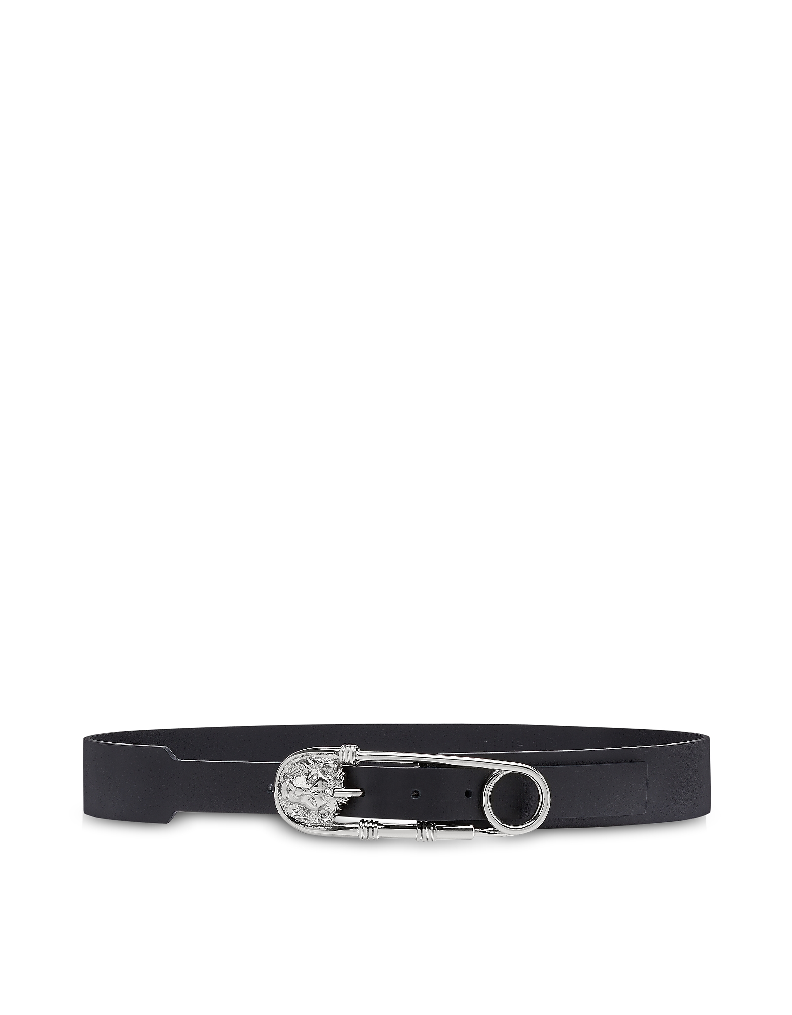 Safety Pin Black Leather Men's Belt