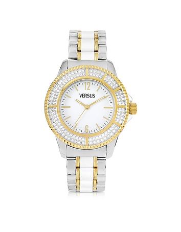 Versace Versus - Tokyo Crystal 38 White and Gold Stainless Steel Women's Watch