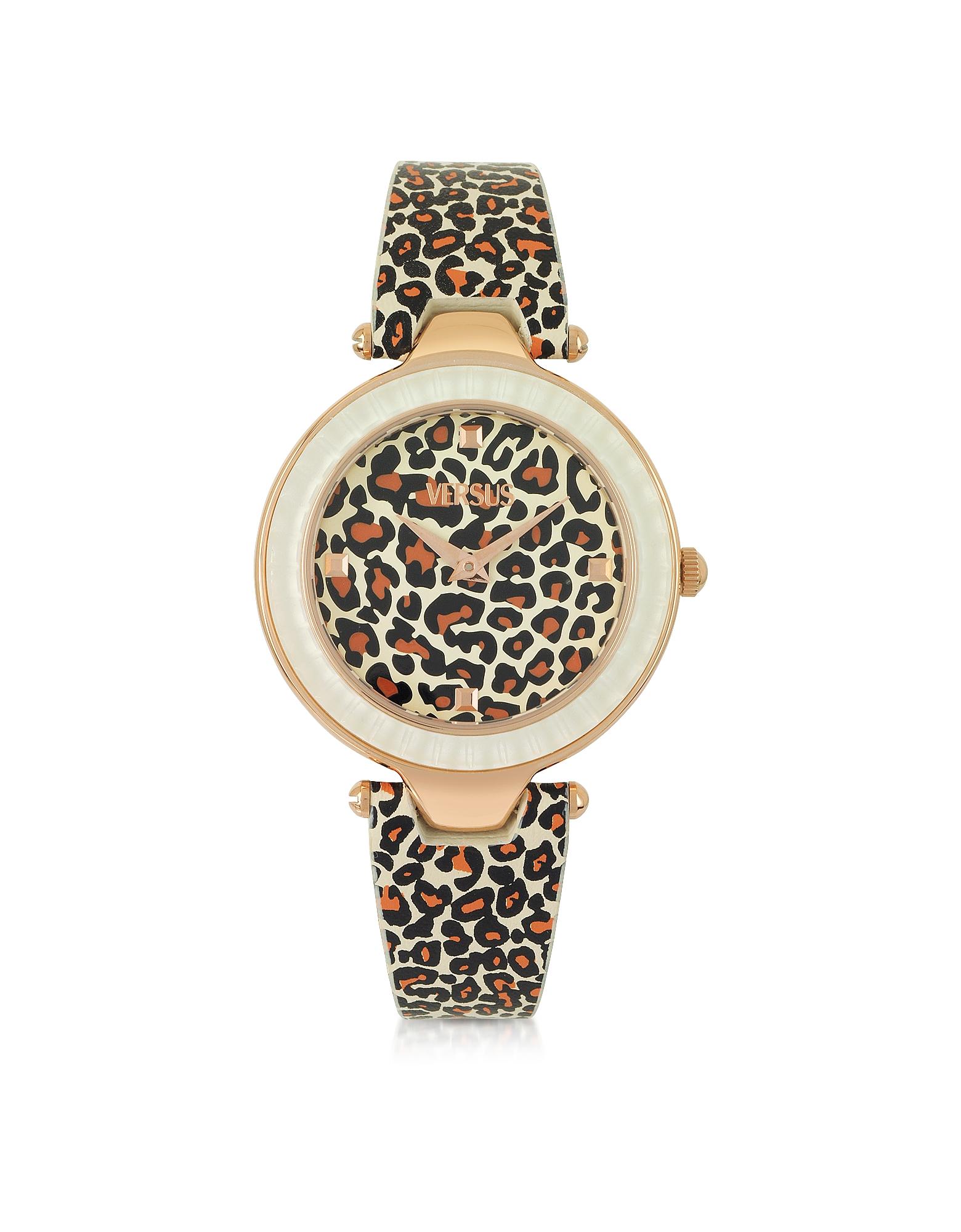 Sertie - Женские Часы из Нержавеющей Стали Оттенка Розового Золота с Леопардовым Принтом