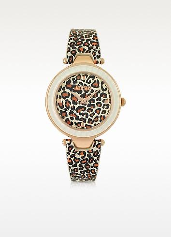 Versace Versus Sertie - Женские Часы из Нержавеющей Стали Оттенка Розового Золота с Леопардовым Принтом