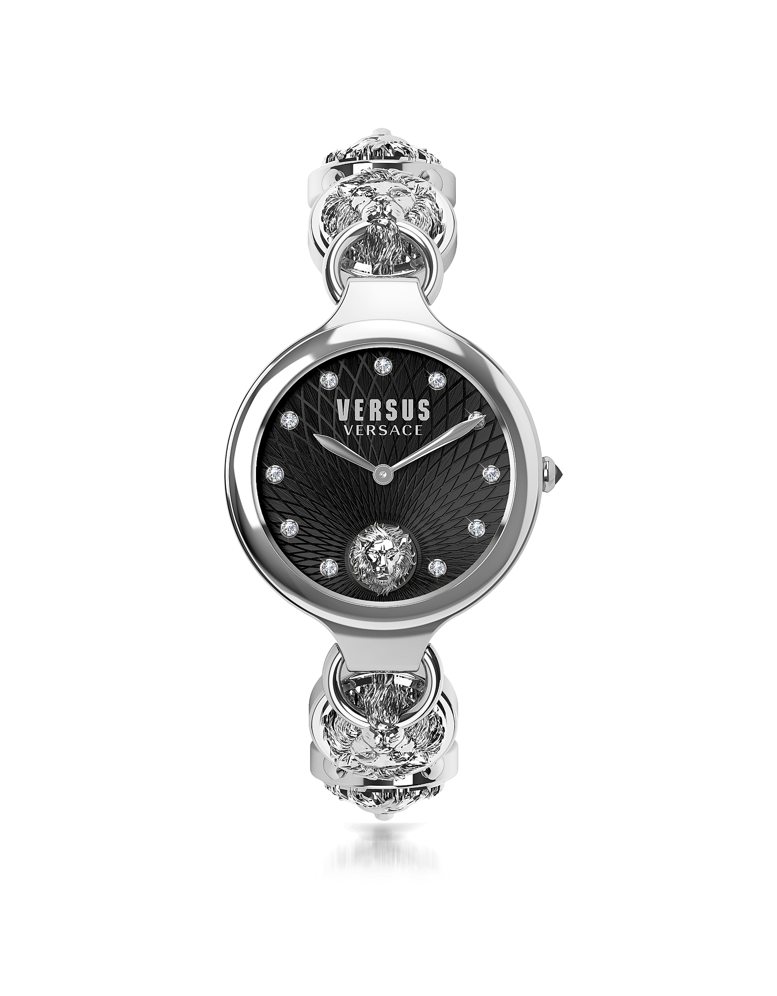 Broadwood Silver Stainless Steel Women's Bracelet Watch w/Black Dial and Crystals