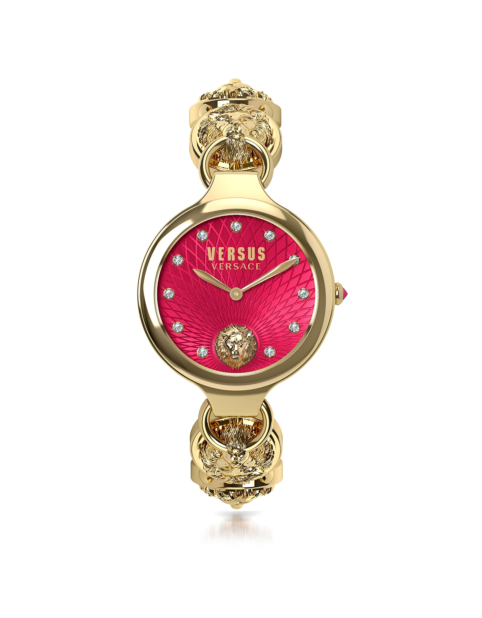 Broadwood Gold Tone Stainless Steel Women's Bracelet Watch w/Red Dial and Crystals
