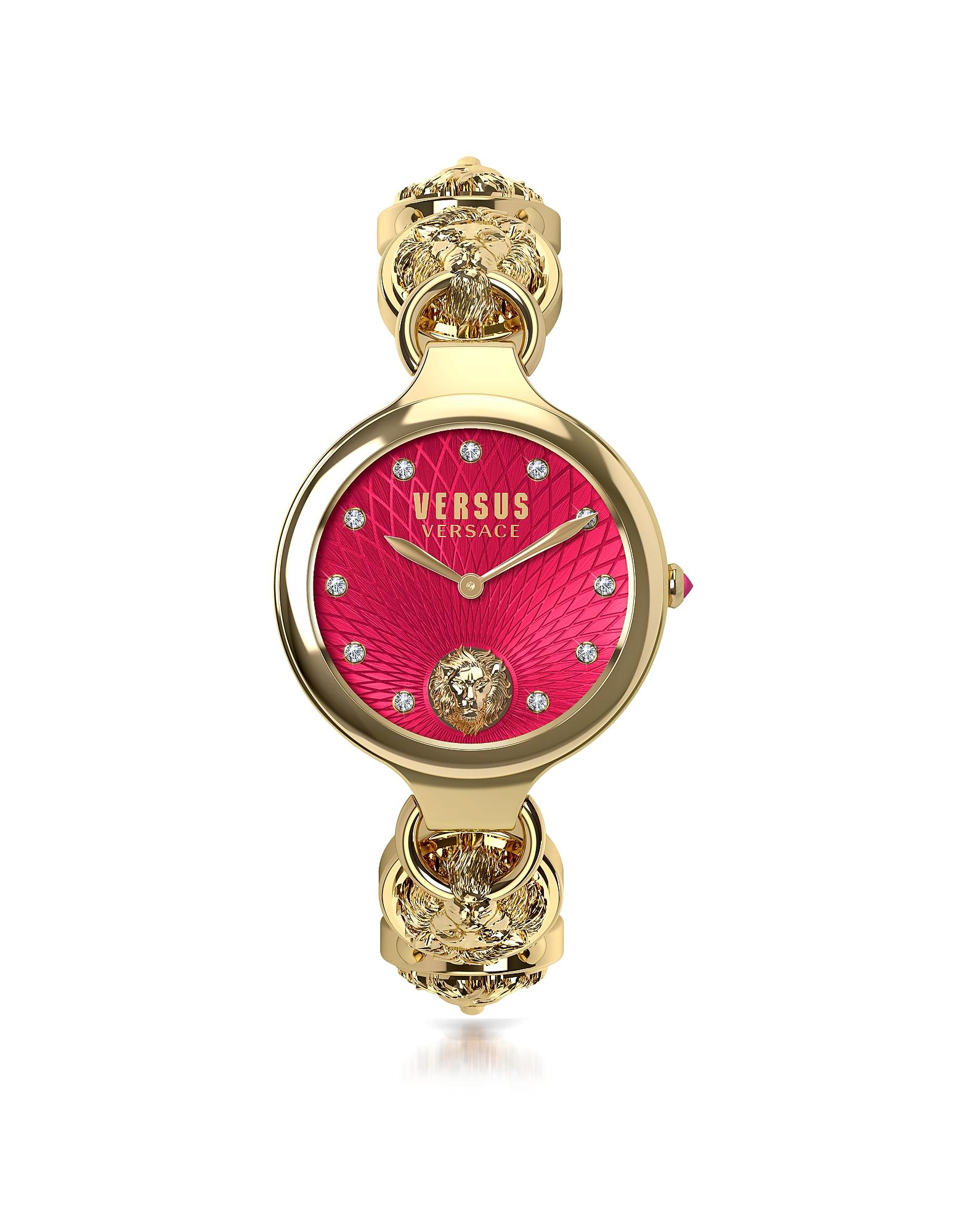 Broadwood - Золотистые Женские Часы из Нержавеющей Стали с Браслетом, Красным Циферблатом и Кристаллами