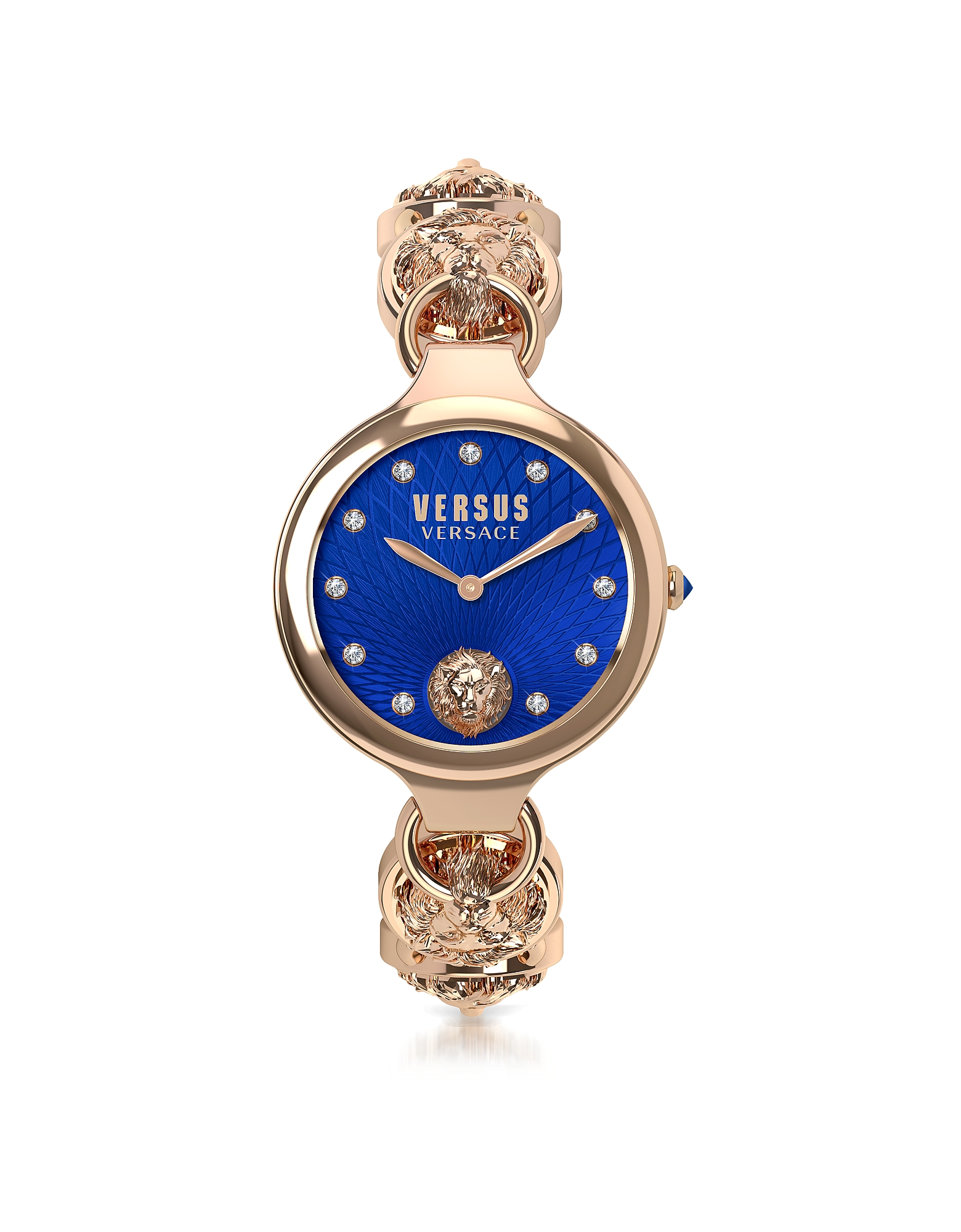 Broadwood Rose Gold Tone Stainless Steel Women's Bracelet Watch w/Blue Dial and Crystals