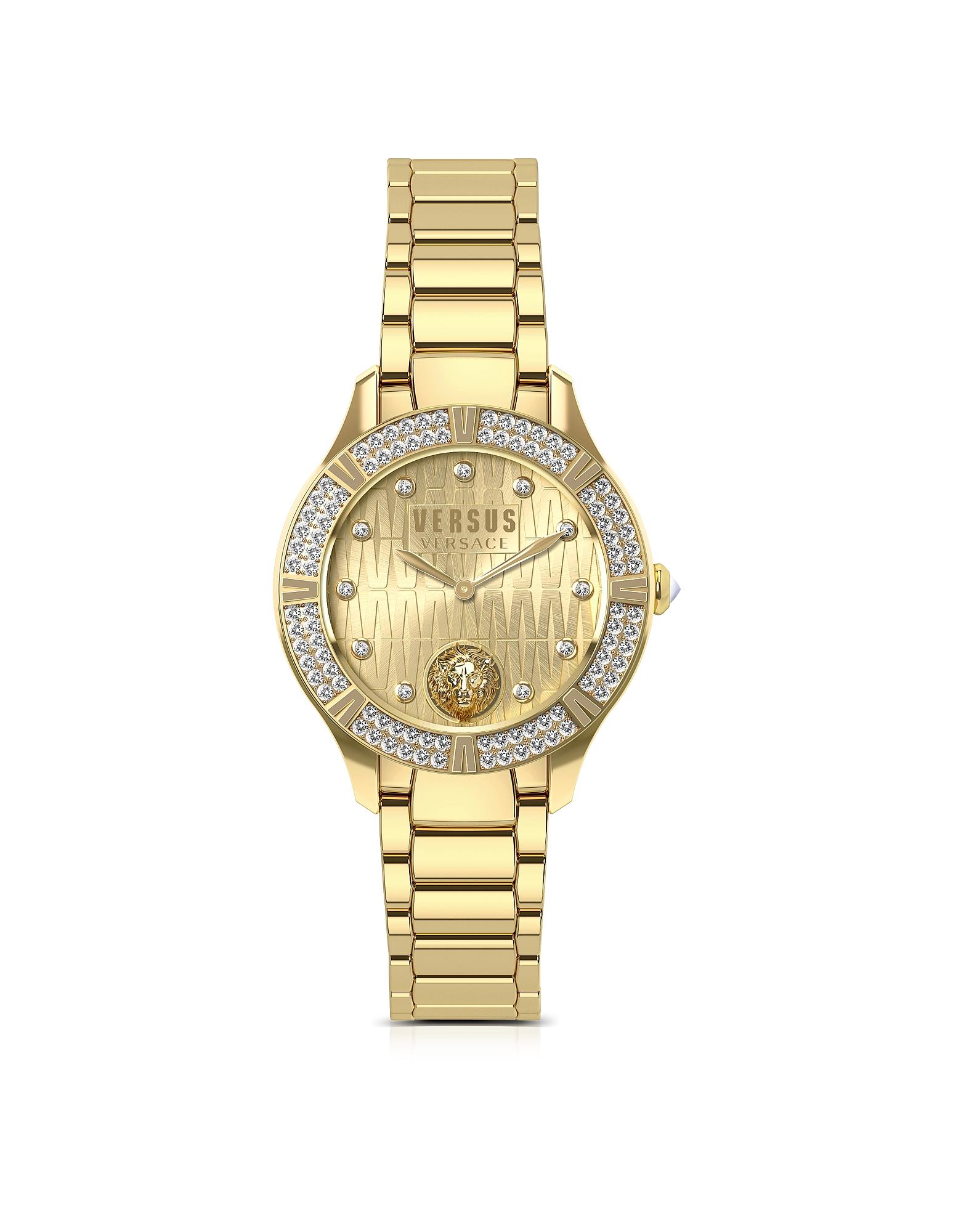 Canton Road - Золотистые Женские Часы из Нержавеющей Стали с Браслетом и Кристаллами