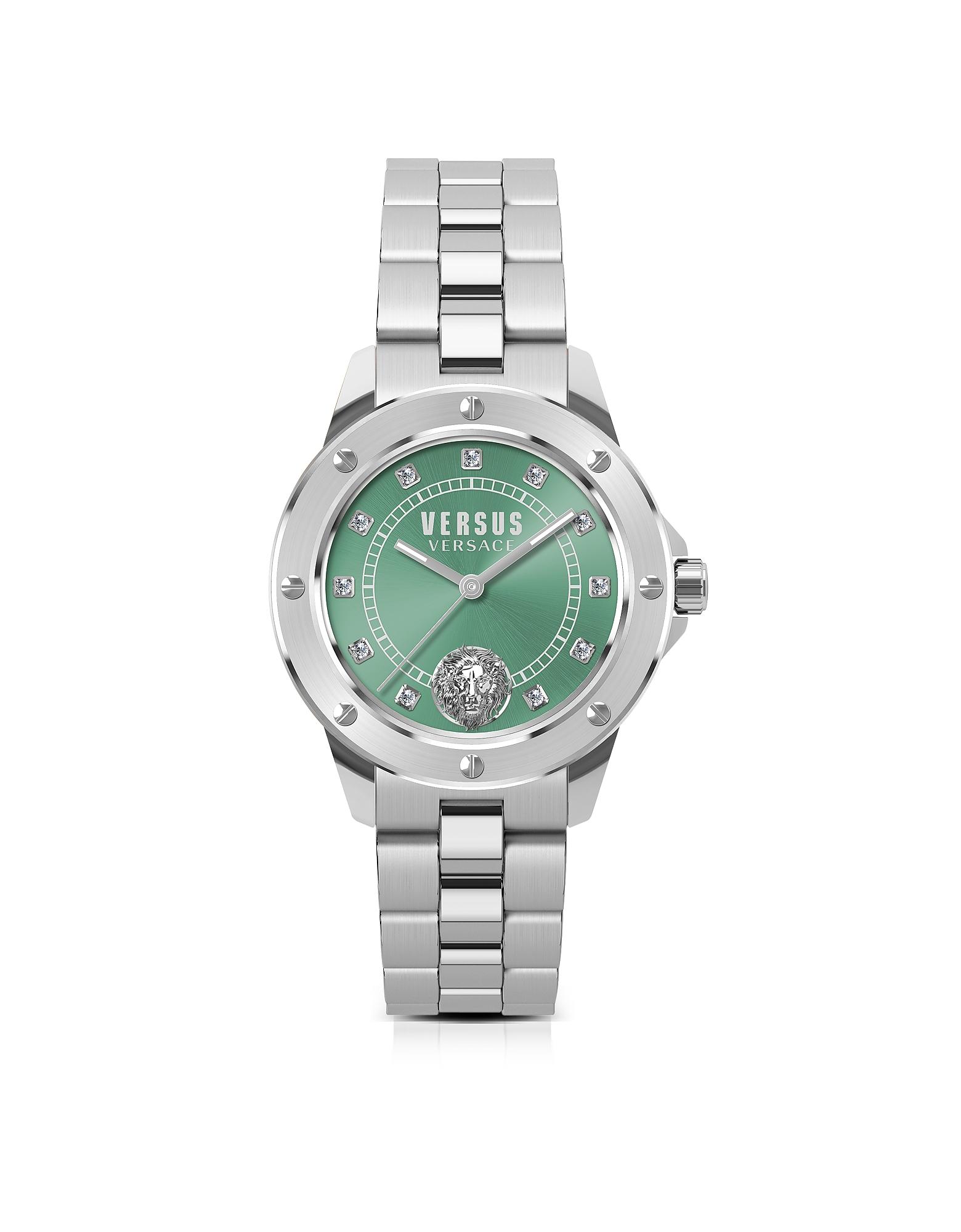 South Horizons - Серебристые Женские Часы из Нержавеющей Стали с Браслетом, Зеленым Циферблатом и Кристаллами