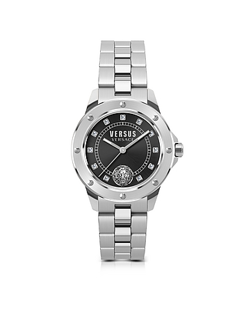 Versace Versus - South Horizons Silver Stainless Steel Women's Bracelet Watch w/Black Dial and Cryst