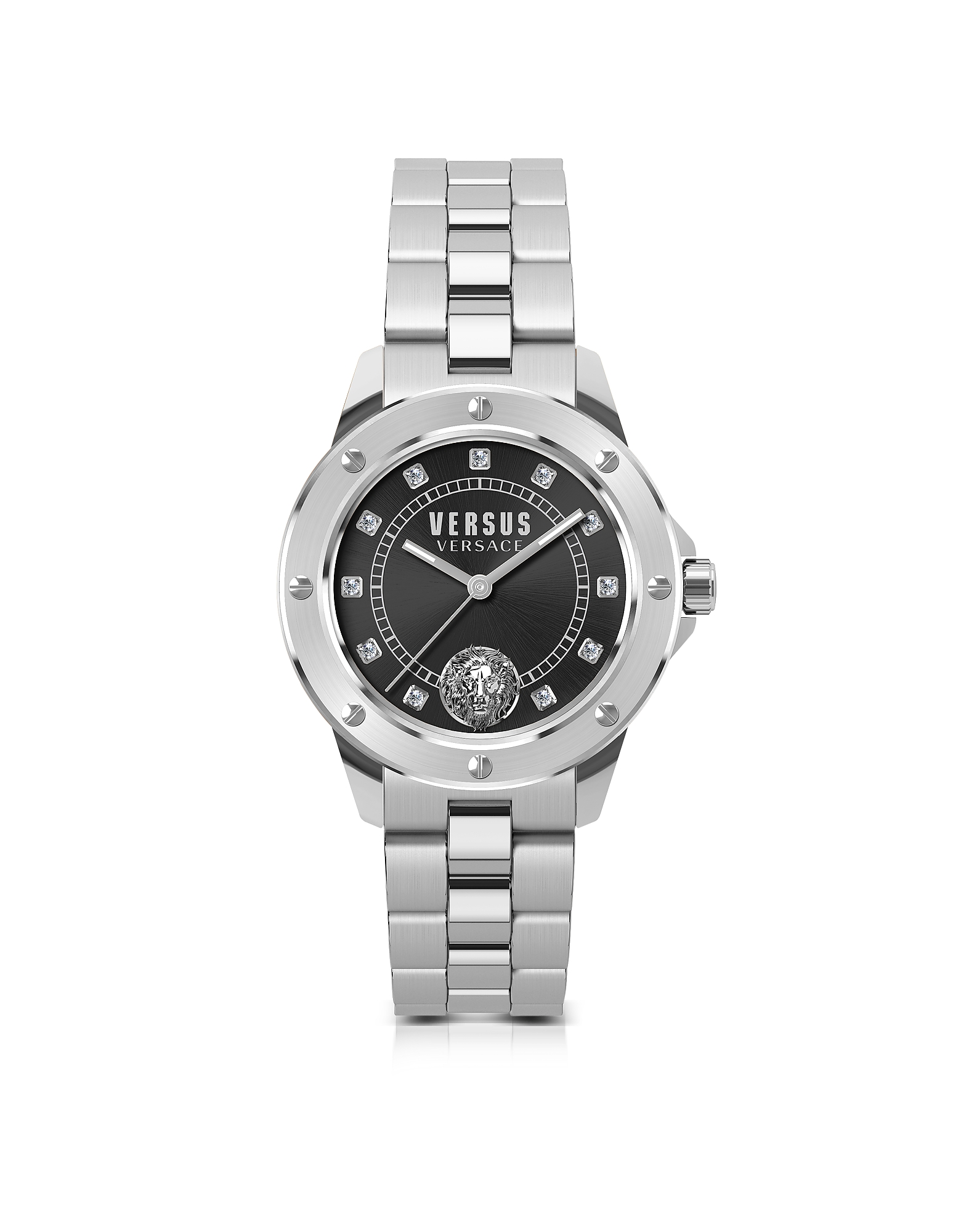 South Horizons Silver Stainless Steel Women's Bracelet Watch w/Black Dial and Crystals