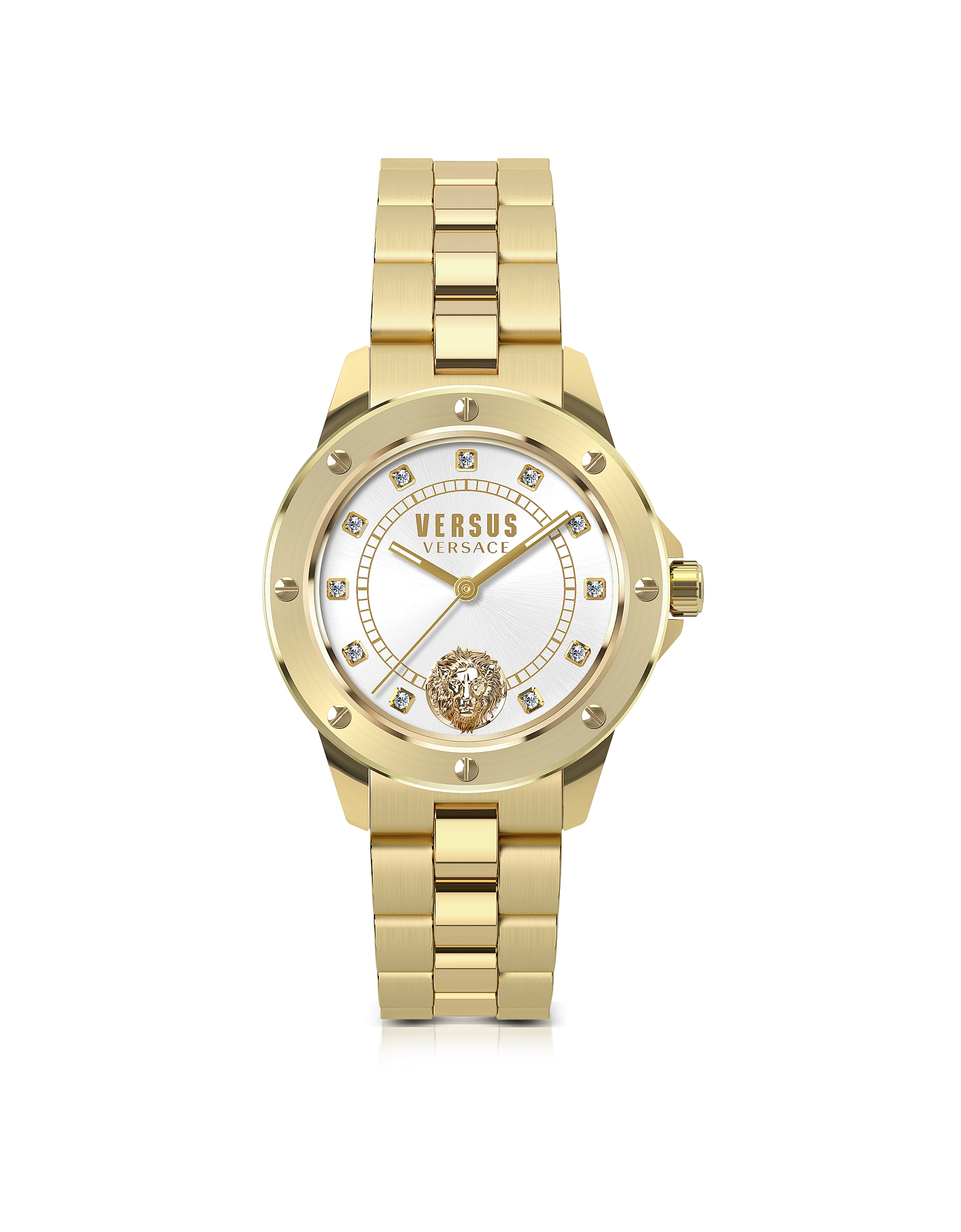 South Horizons Gold Tone Stainless Steel Women's Bracelet Watch w/White Dial and Crystals