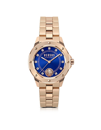 Versace Versus - South Horizons Rose Gold Tone Stainless Steel Women's Bracelet Watch w/Blue Dial an