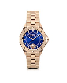 South Horizons Rose Gold Tone Stainless Steel Women's Bracelet Watch w/Blue Dial and Crystals - Versace Versus
