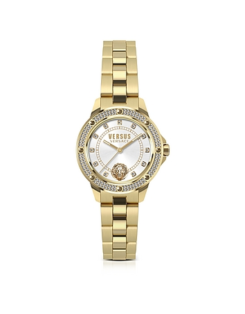 Versace Versus - South Horizons Gold Tone Crystal Stainless Steel Women's Bracelet Watch w/White Dia
