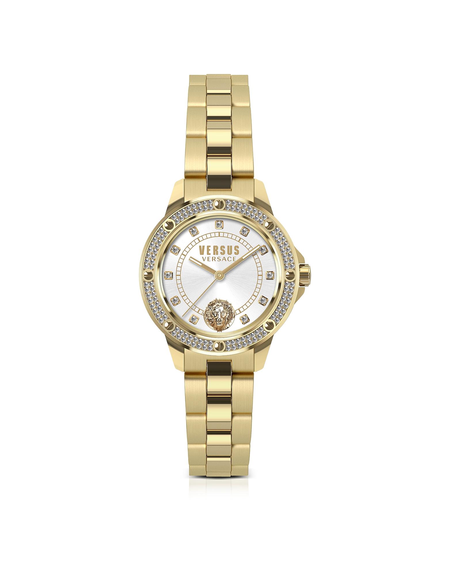 South Horizons - Золотистые Женские Часы из Нержавеющей Стали с Браслетом, Кристаллами и Белым Циферблатом