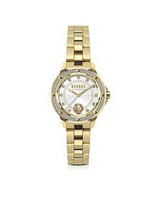 South Horizons Gold Tone Crystal Stainless Steel Women's Bracelet Watch w/White Dial - Versace Versus