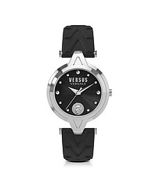 V Versus Silver Stainless Steel Women's Watch w/Black Leather Strap - Versace Versus