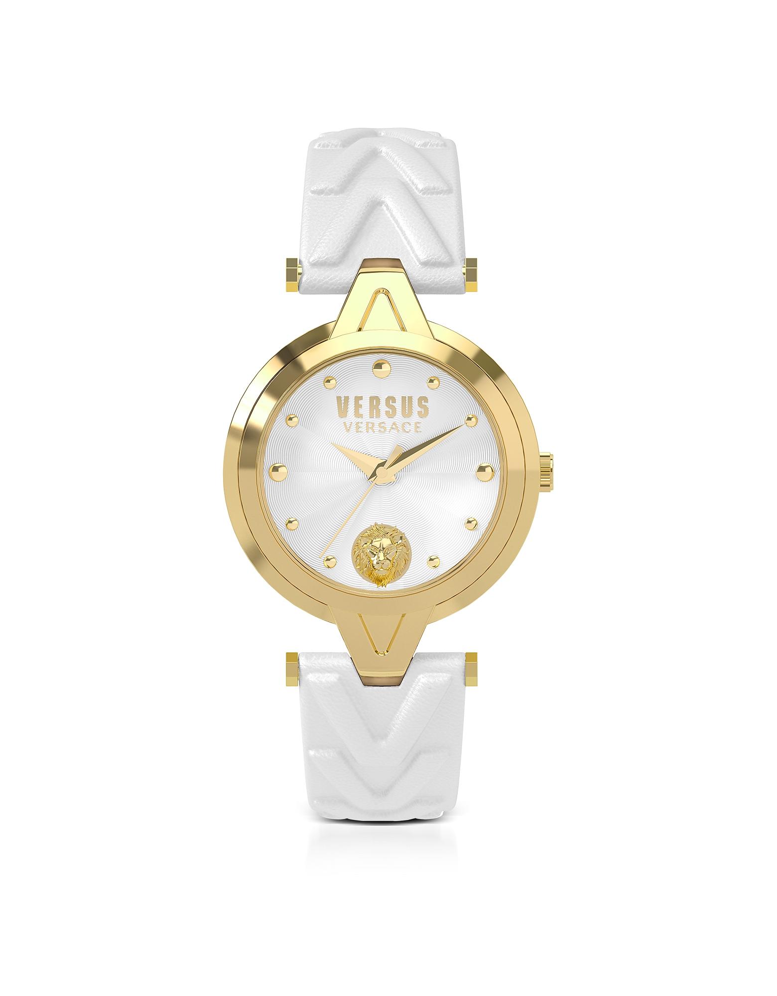 V Versus - Золотистые Женские Часы из Нержавеющей Стали с Белым Кожаным Ремешком