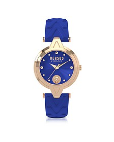 V Versus Rose Gold Tone Stainless Steel Women's Watch w/Blue Leather Strap - Versace Versus
