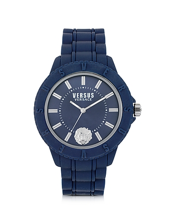 Versace Versus - Tokyo Silicon and Silver Tone Stainless Steel Unisex Watch