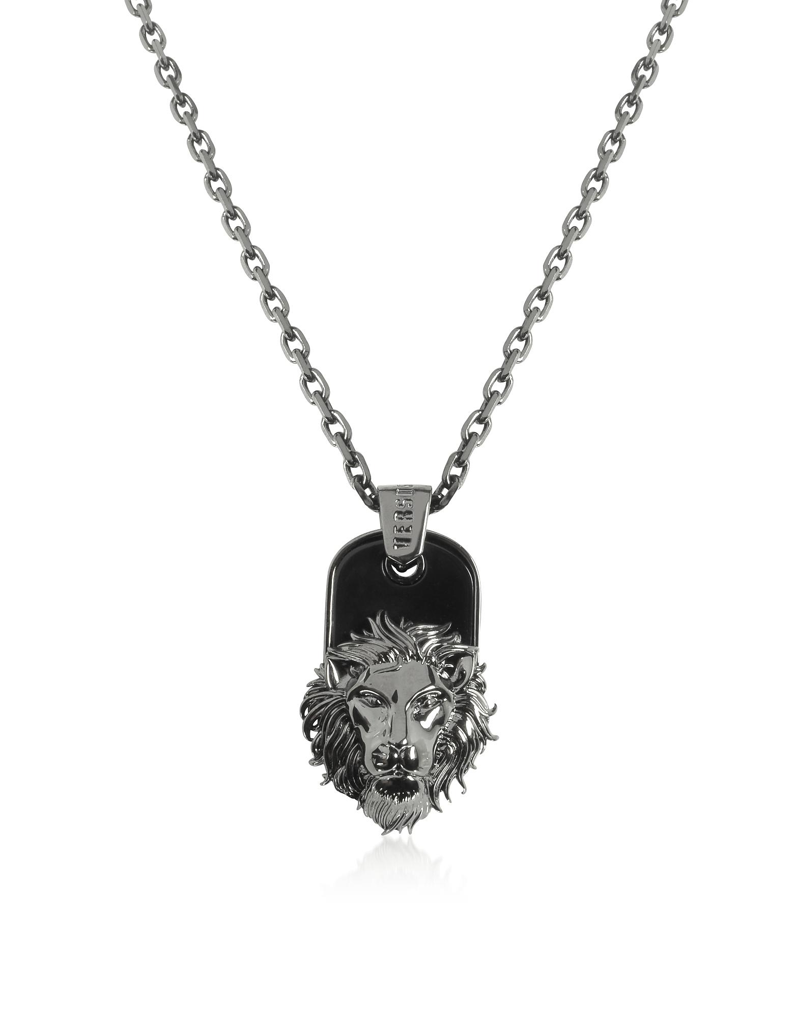 Black Enamel & Metal Necklace