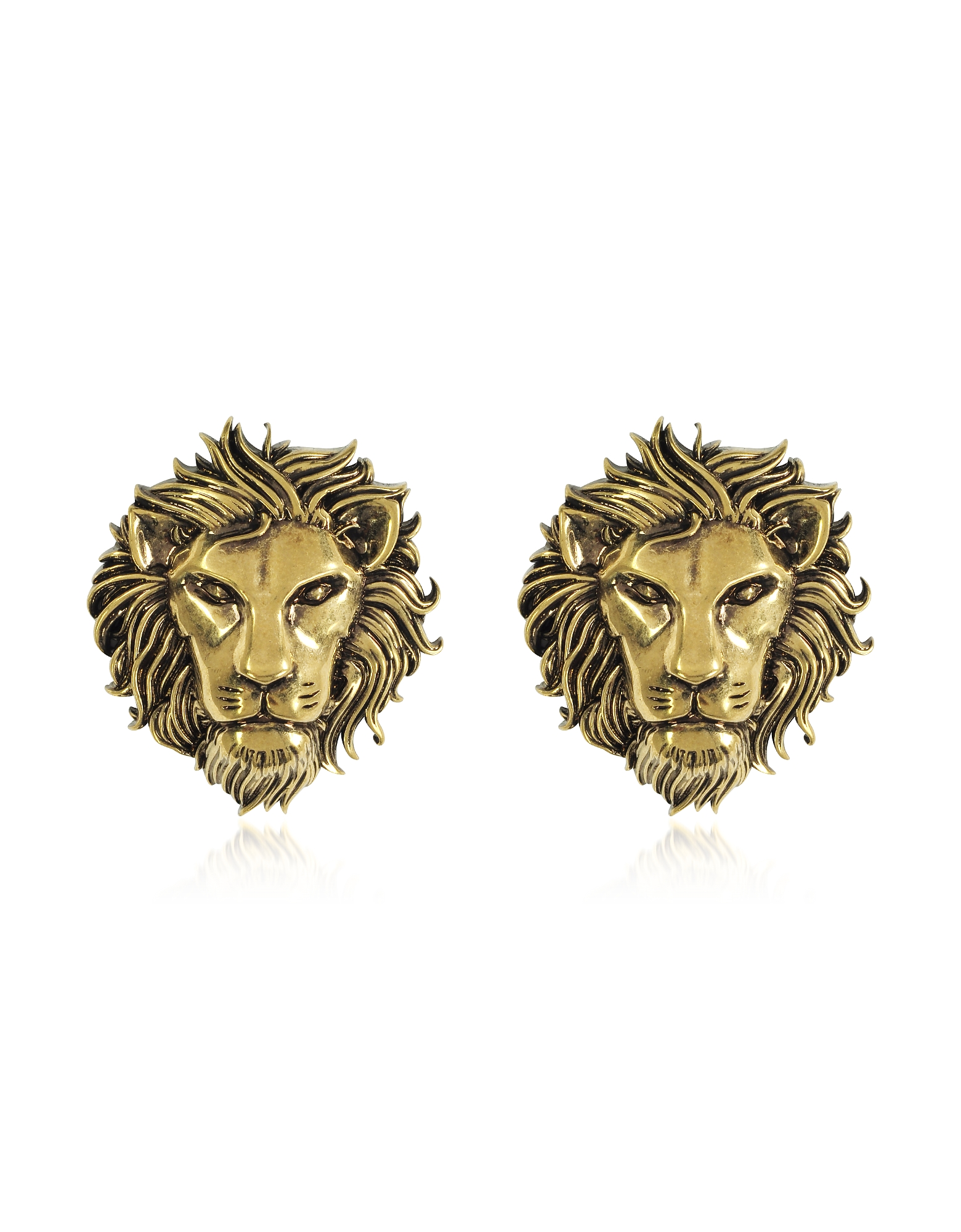 Golden Lion Head Earrings