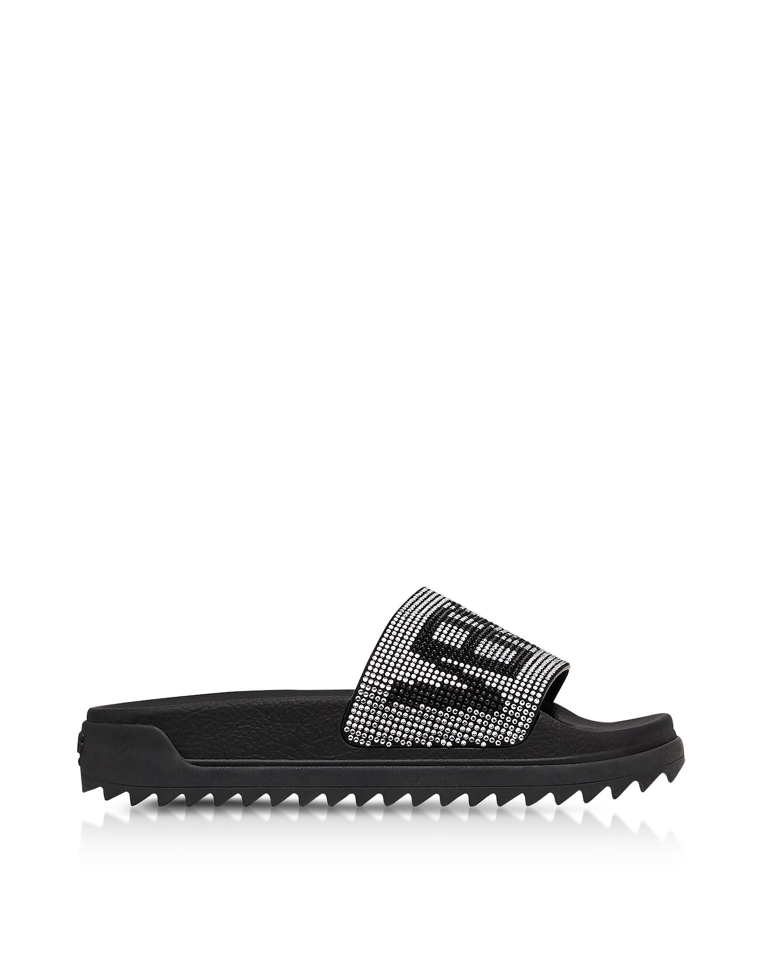 Versace Versus Shoes, Black Crystals and Suede Slide Sandals