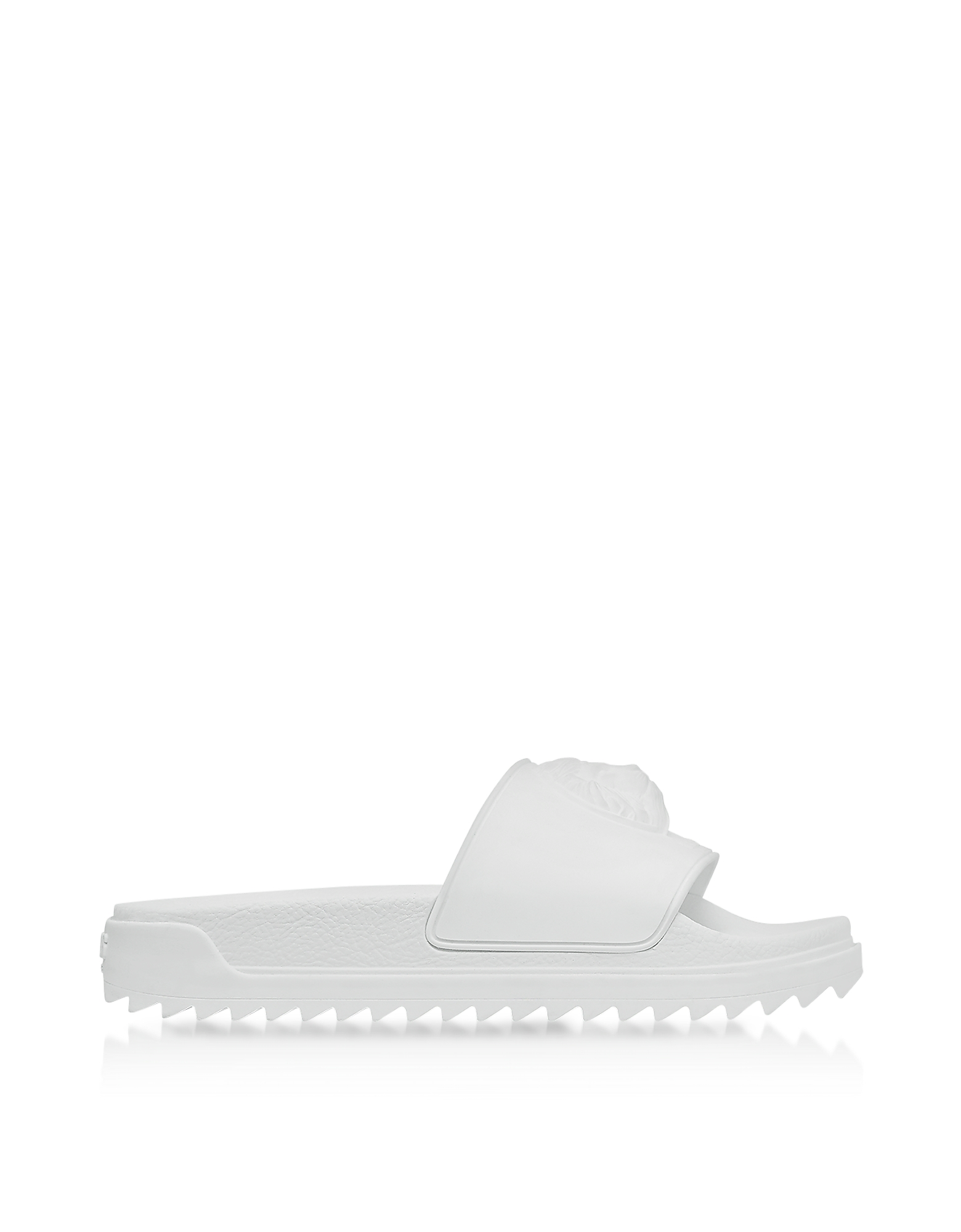 Versace Versus Shoes, Lion Head Pure White Rubber Slide Sandals