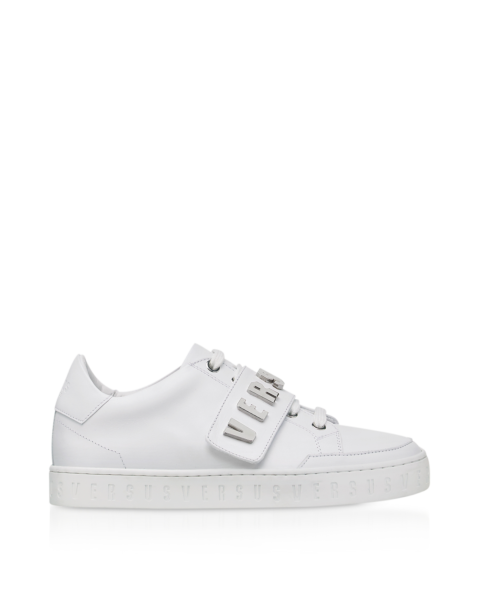 Image of Versace Versus Designer Shoes, Optic White Leather Low Top Trainers w/Silvertone Metal Signature Logo