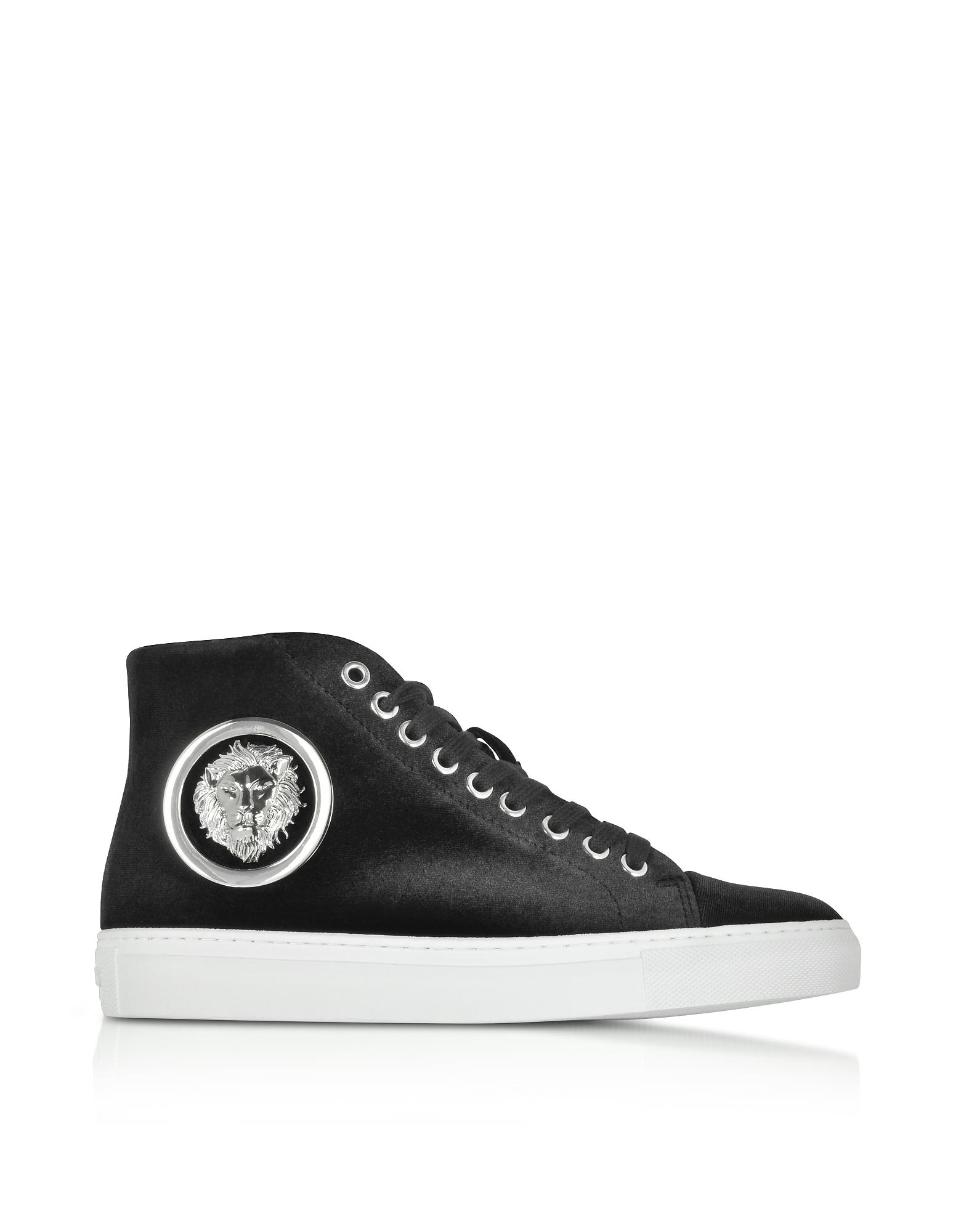 Black Velvet Lion High Top Women's Sneakers